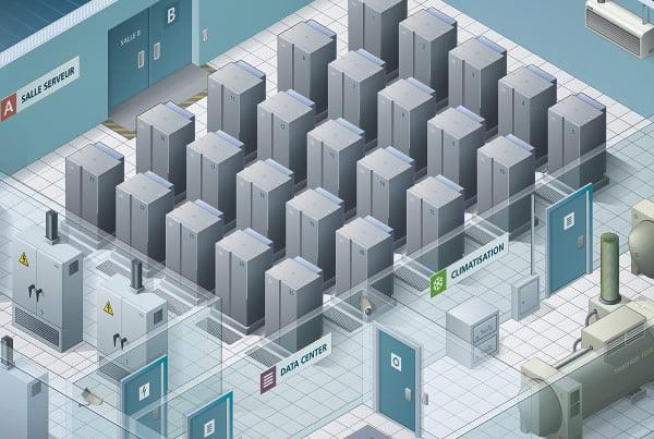 Illustration isométrique d'un data center - image vignette_netsoft-assur on https://www.philippe-mignotte.fr