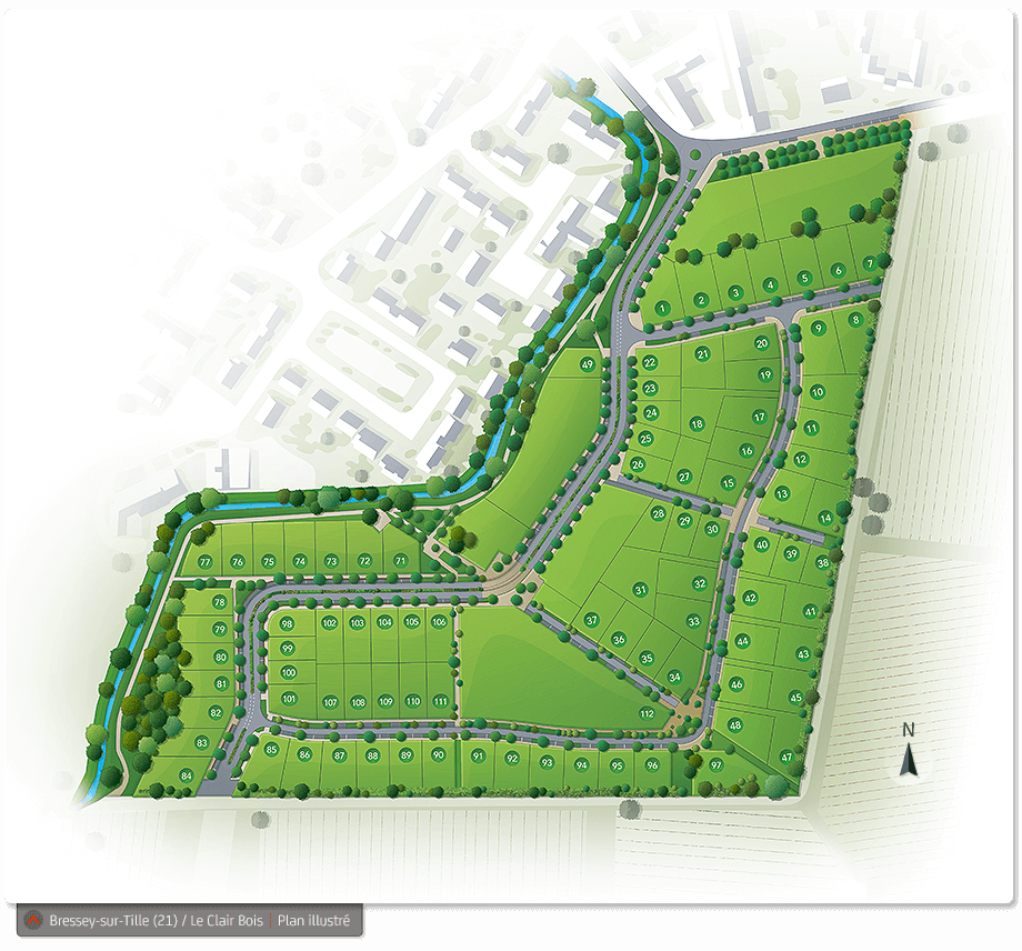Plaquettes et plans illustrés Nexity - image plan-illustre_bressey_clair-bois on https://www.philippe-mignotte.fr