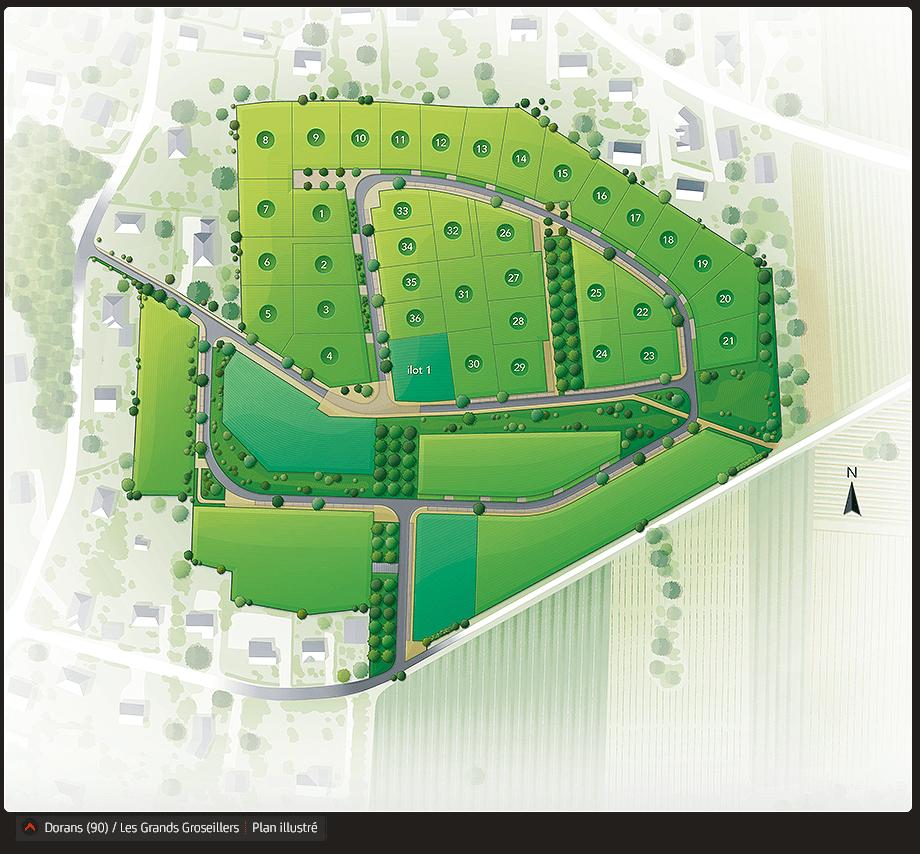 Plan illustré du programme foncier Les Grands Groseillers à Dorans.