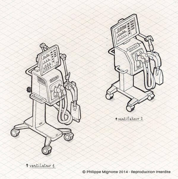 Dessin préparatoire ventilateurs / respirateurs