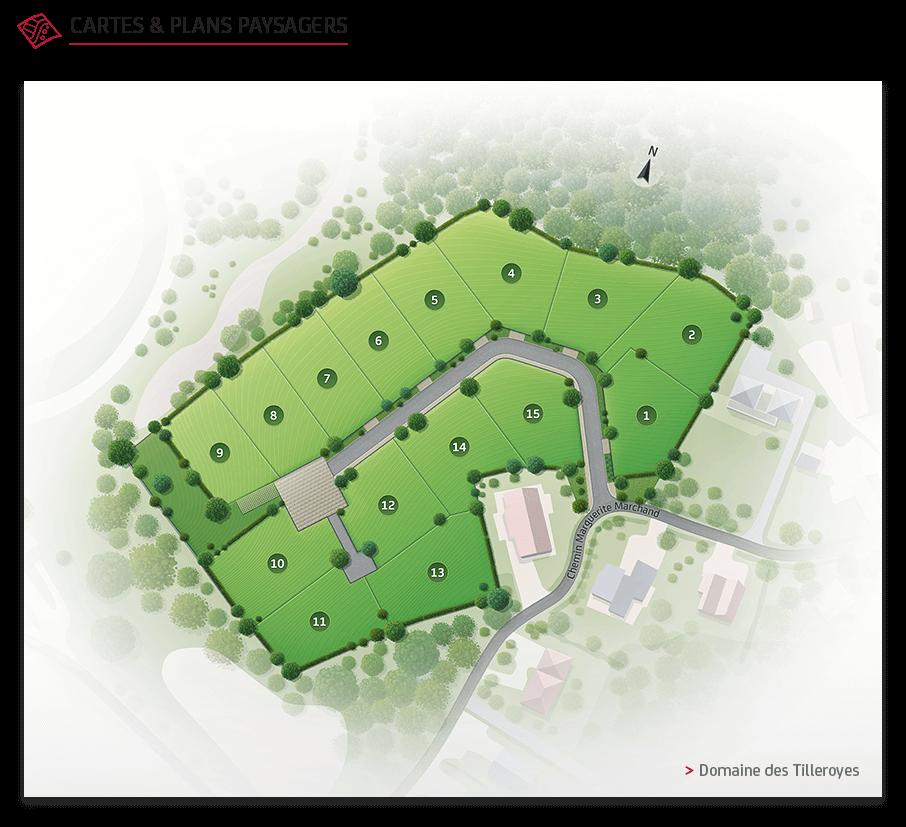 Illustration plan paysager Nexity Domaine de Tilleroyes