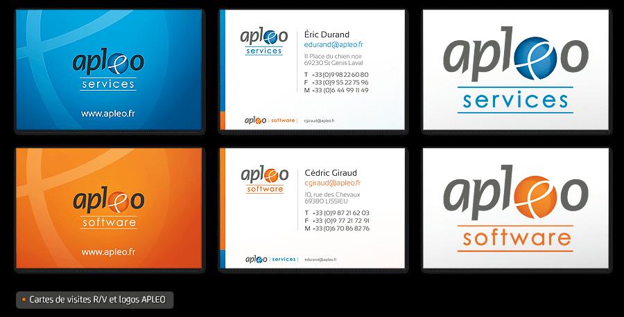 Identité graphique Apleo Software - image Design-des-cartes-de-visites-apleo on https://www.philippe-mignotte.fr