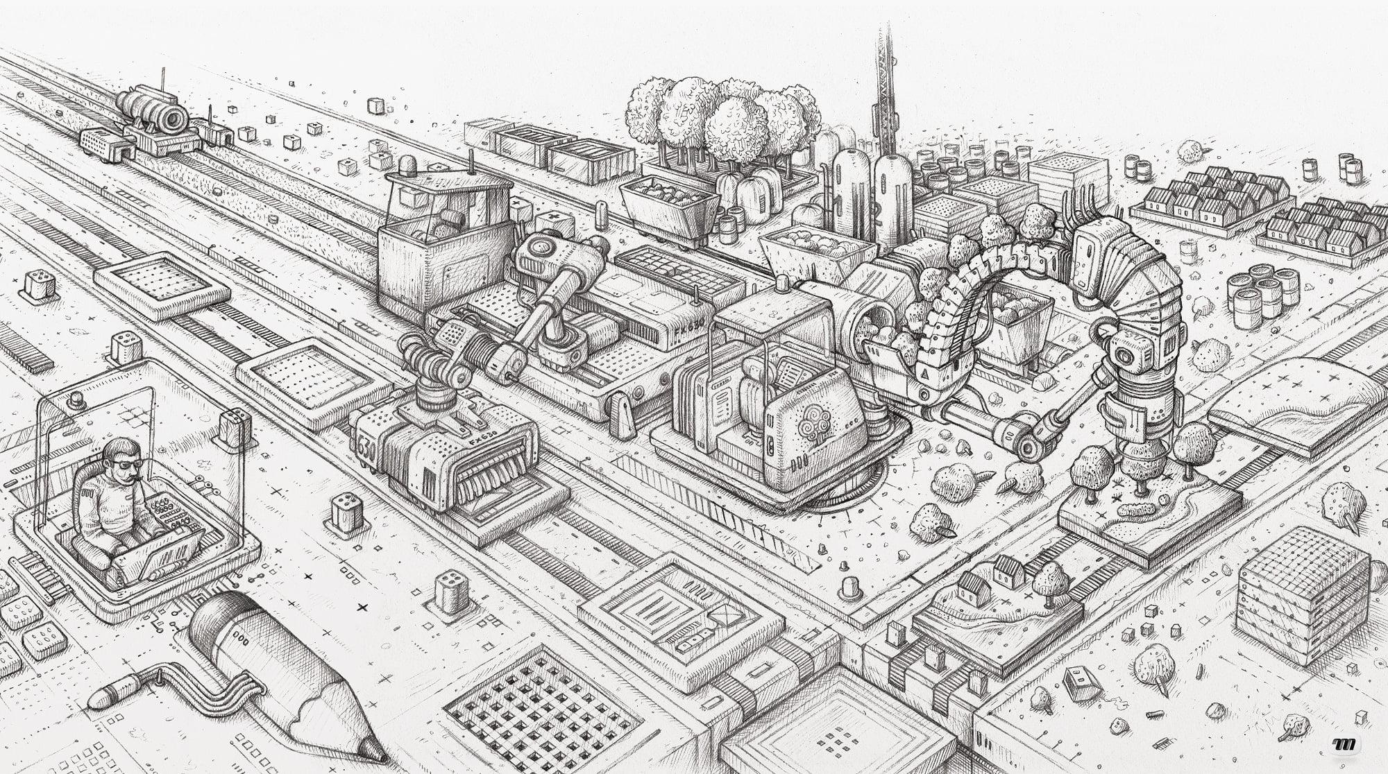 Illustration Mi Factory - image Dessin-preparatoire-illustration-MI-Factory on https://www.philippe-mignotte.fr
