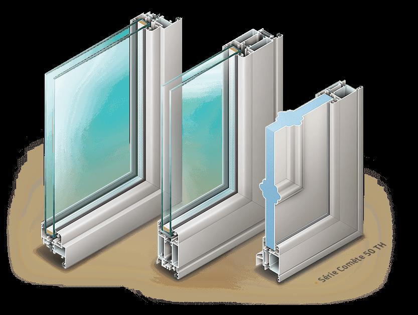 Illustrations de fenêtres Installux. 3 vues en coupes de la série Comète 50TH.