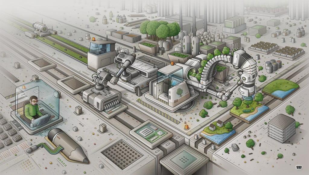 Illustration vectorielle de l'univers technologique Mi Factory - version 1024 px