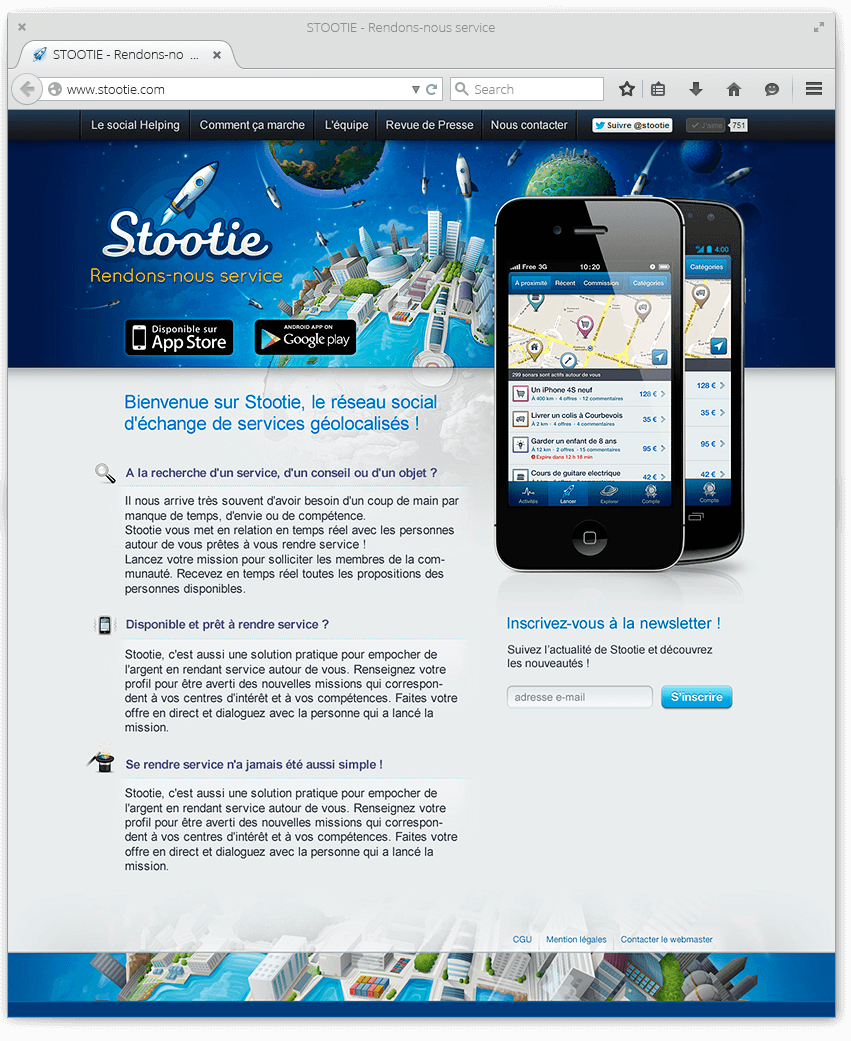Site internet Stootie : webdesign de la landing page
