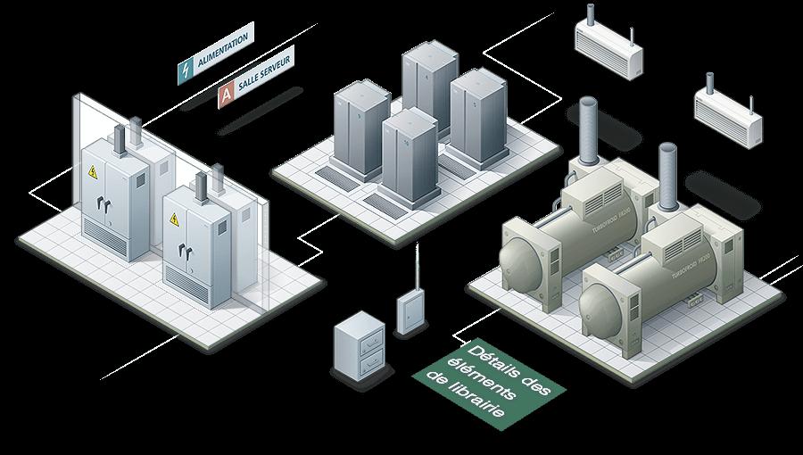 Illustration isométrique d'un data center - image Librairie-vectorielle-illustration-data-center-Netsoft-Assue on https://www.philippe-mignotte.fr