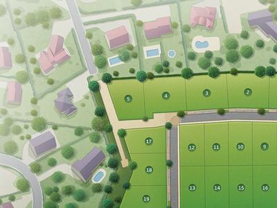 Extrait d'une illustration de plan paysager réalisée pour NEXITY