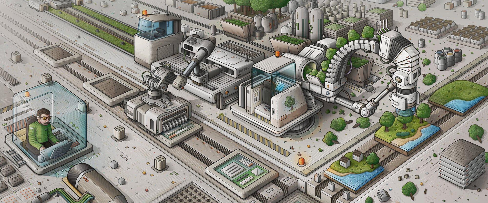Illustration vectorielle d'un univers technologique
