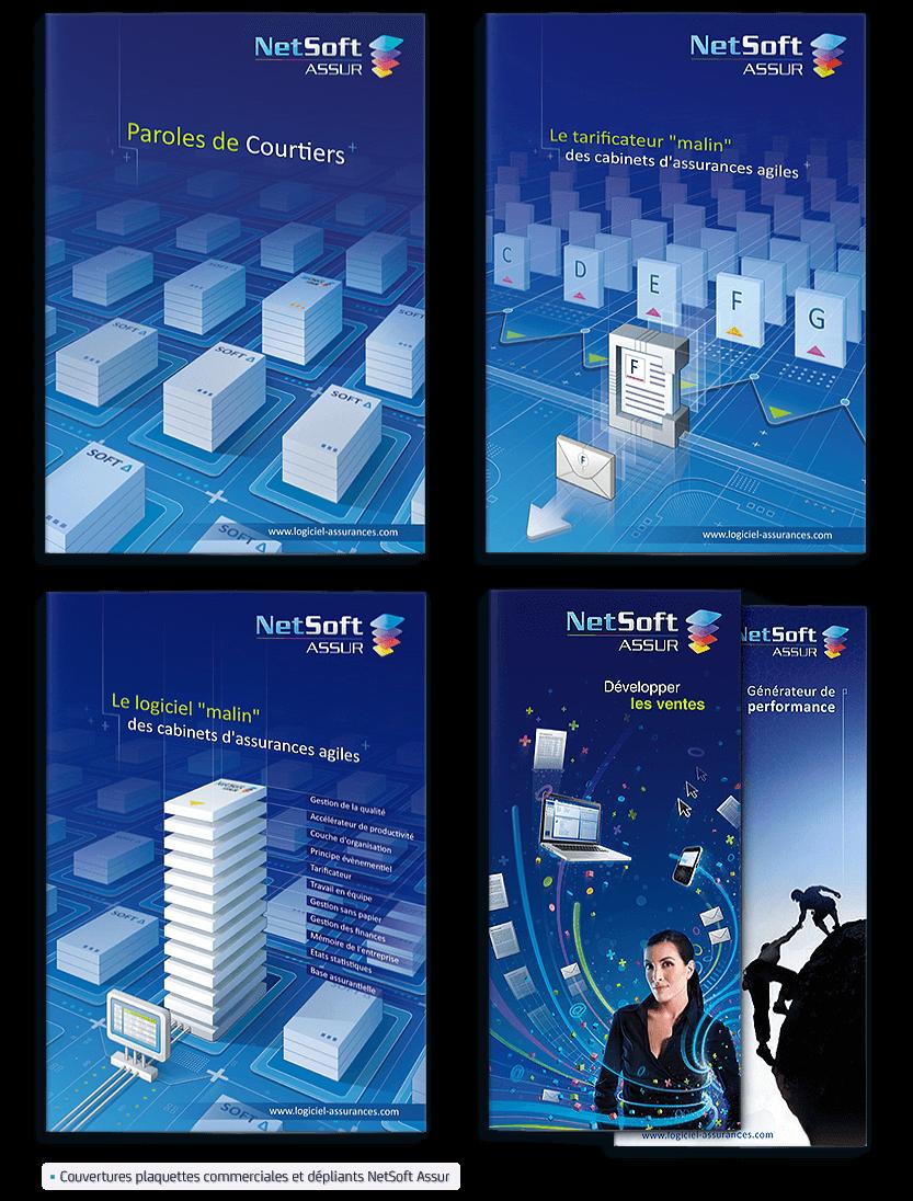 Identité graphique Netsoft Assur - image Couvertures-illustration-plaquettes-commerciales-NetSoft-Assur on https://www.philippe-mignotte.fr