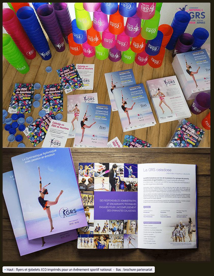 Flyers événementiels, gobelets personnalisés et brochure sponsoring GRS Caladoise
