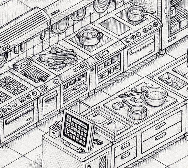 Extrait du dessin d'une illustration isométrique vectorielle d'une cuisine