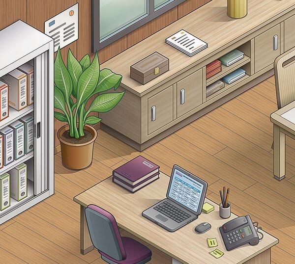 Extrait d'une illustration isométrique vectorielle d'un bureau