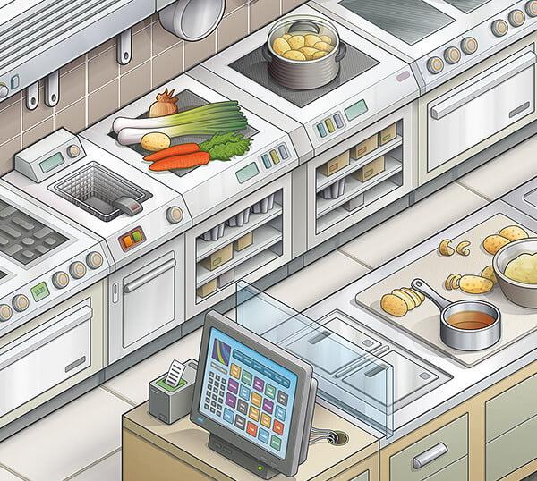 Extrait d'une illustration isométrique vectorielle d'une cuisine