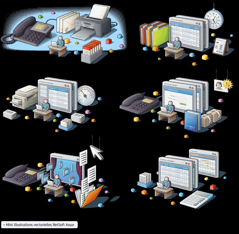 mini illustrations vectorielles de rubriques pour Netsoft Assur